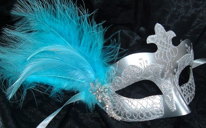 Silver & turquoise diamonte feather Half Mask